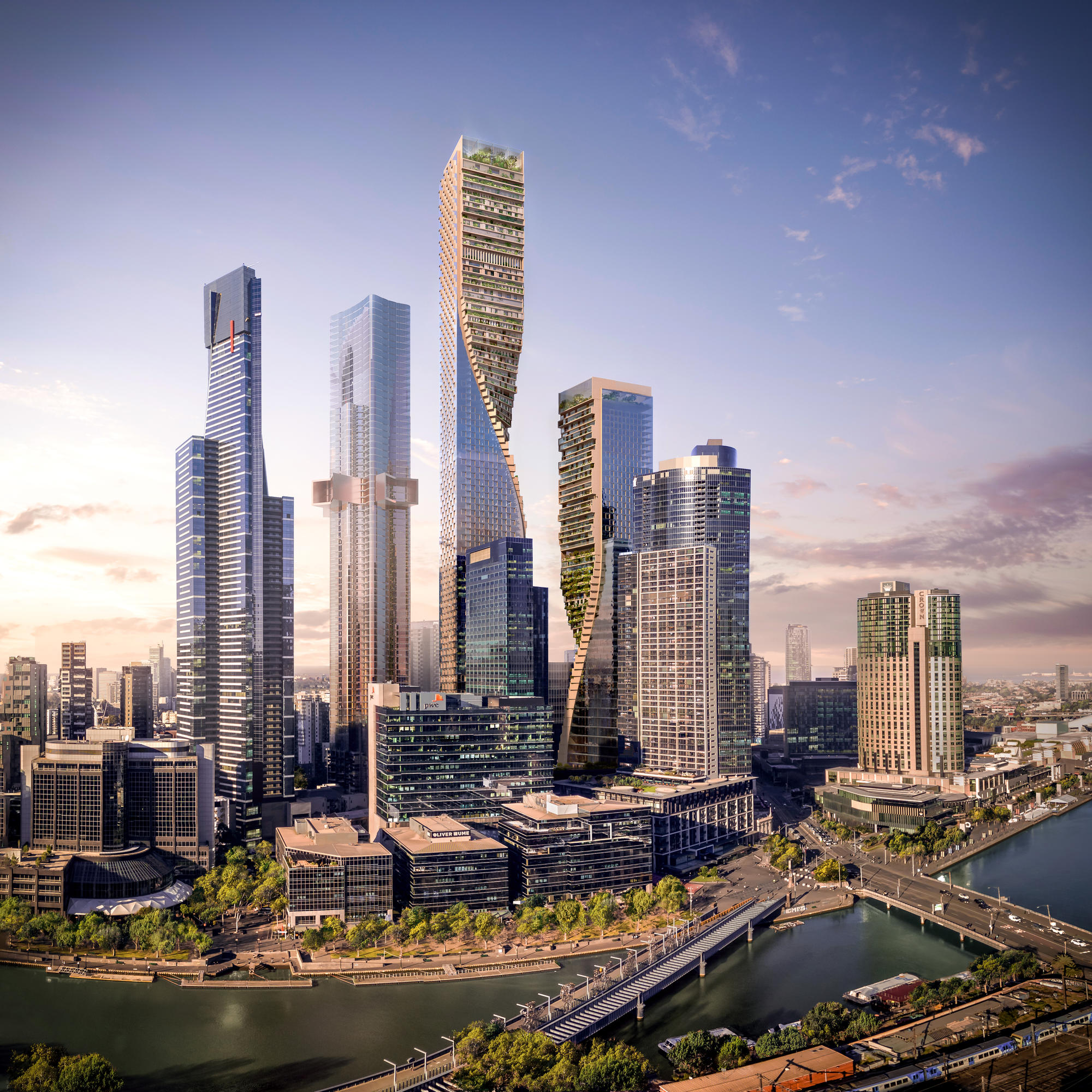'Green Spine' propuesta ganadora por UNStudio con Cox Architecture