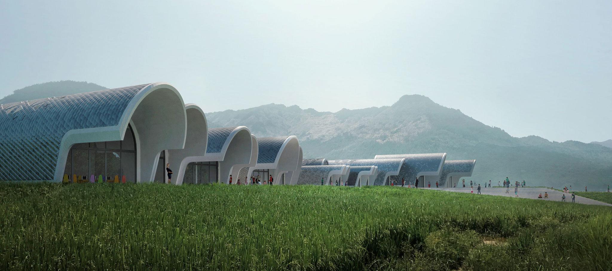 Exterior. Parabolic-Vaulted School Campus by Zaha Hadid Architects. Image by VA. Image courtesy of ZHA