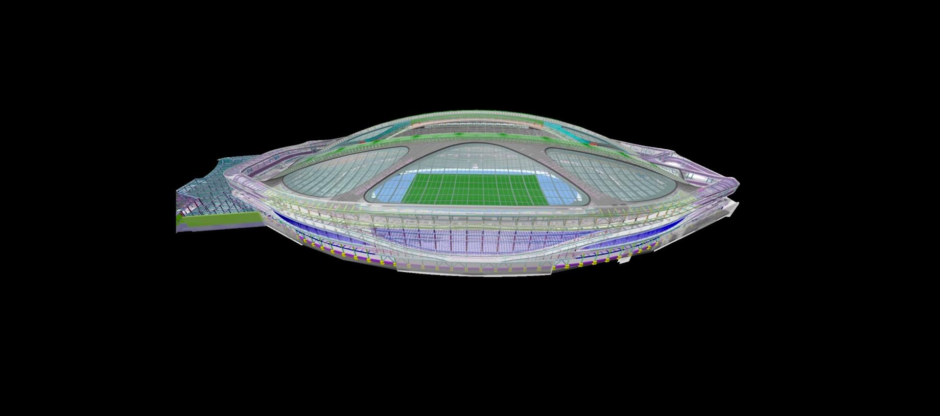 Modelo en 3D. Propuesta de Nuevo Estadio Nacional de Tokio por Zaha Hadid Architects. Imágen corte de pantalla del vídeo de presentación