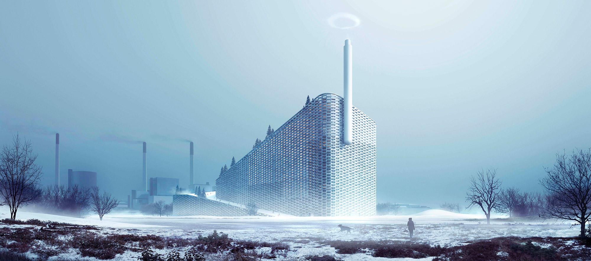 Render exterior nevando. Amager Bakke Planta de conversión de residuos en energía por BIG-Bjarke Ingels Group