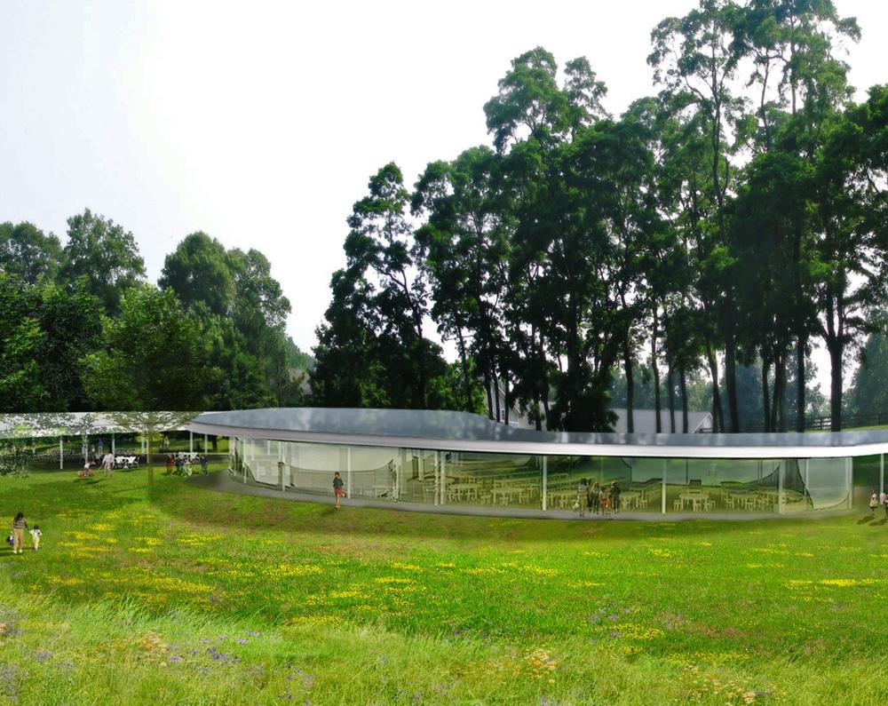El pabellón The River, realizado en acero y vidrio. (Renders cortesía de Sanaa y Olin)