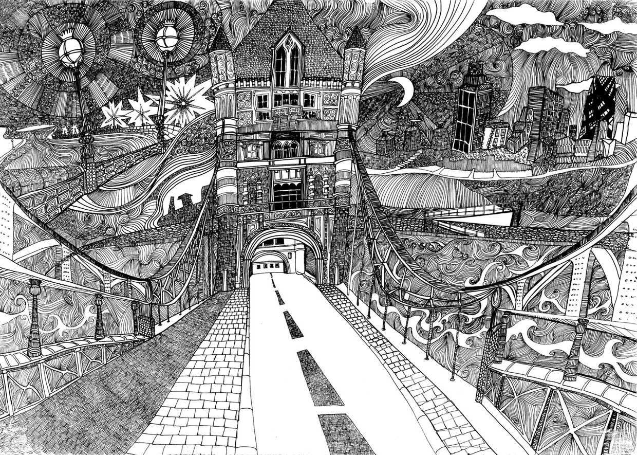 Tower Bridge, London. Illustration © Lizzie Mary Cullen
