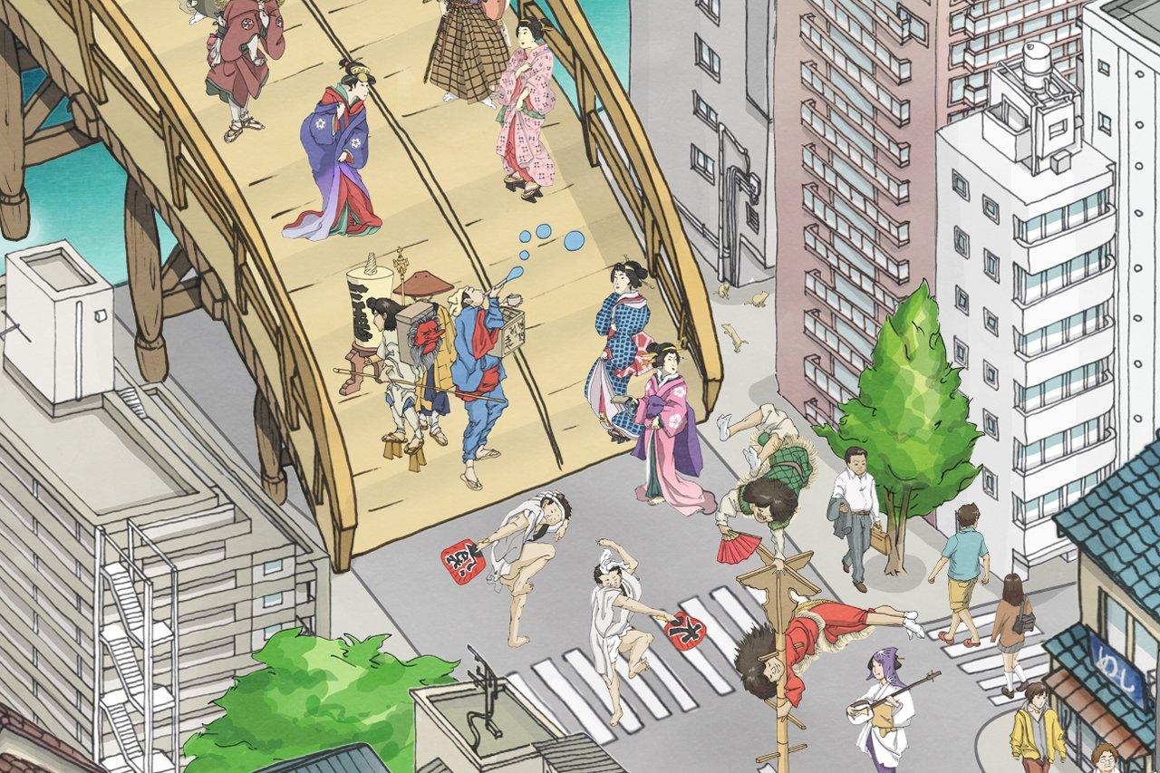 Detalle del mural TOKYO SKYTREE por teamLab