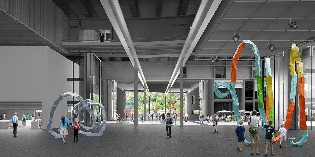 Visualización interior del hall principal de el centro de exposiciones de R4, Julio 2012 © Ateliers Jean Nouvel