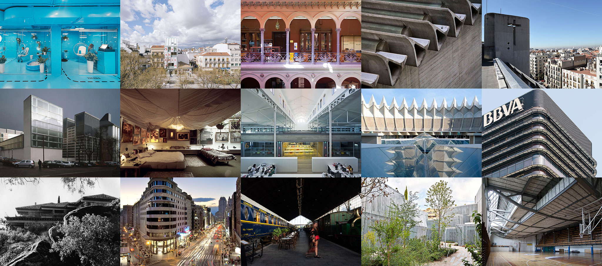 Collage of buildings recommended by METALOCUS for Open House Madrid
