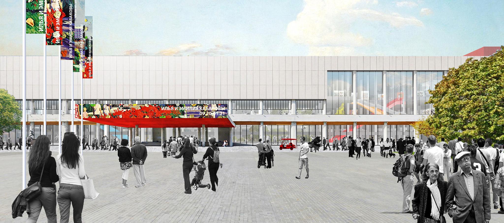Visualización, vista exterior. Nueva Galería Tretyakov en Moscú por OMA / Rem Koolhaas. Imagen cortesía de OMA