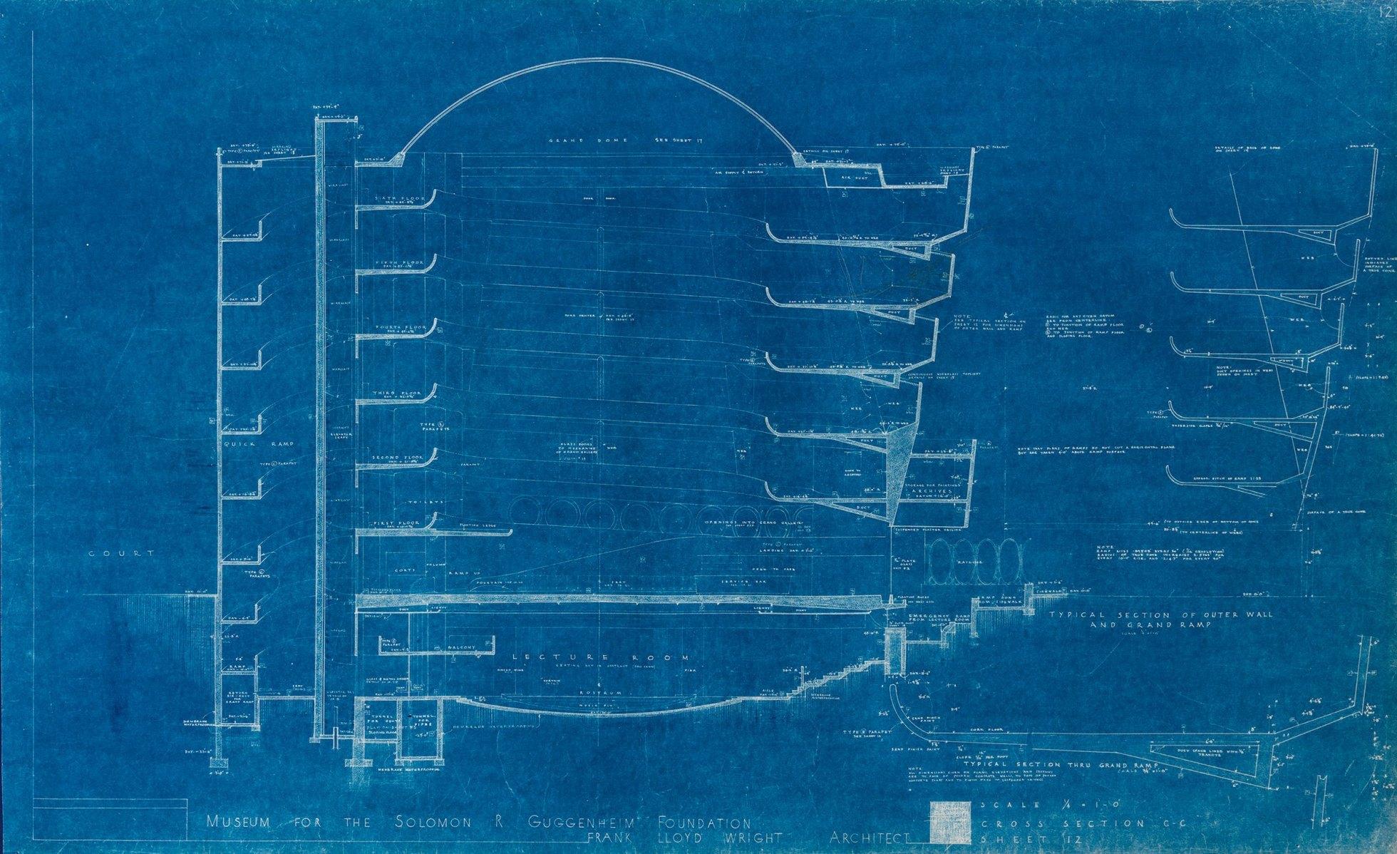 Frank Lloyd Wright\'s blueprints of the Guggenheim sheds additional ...