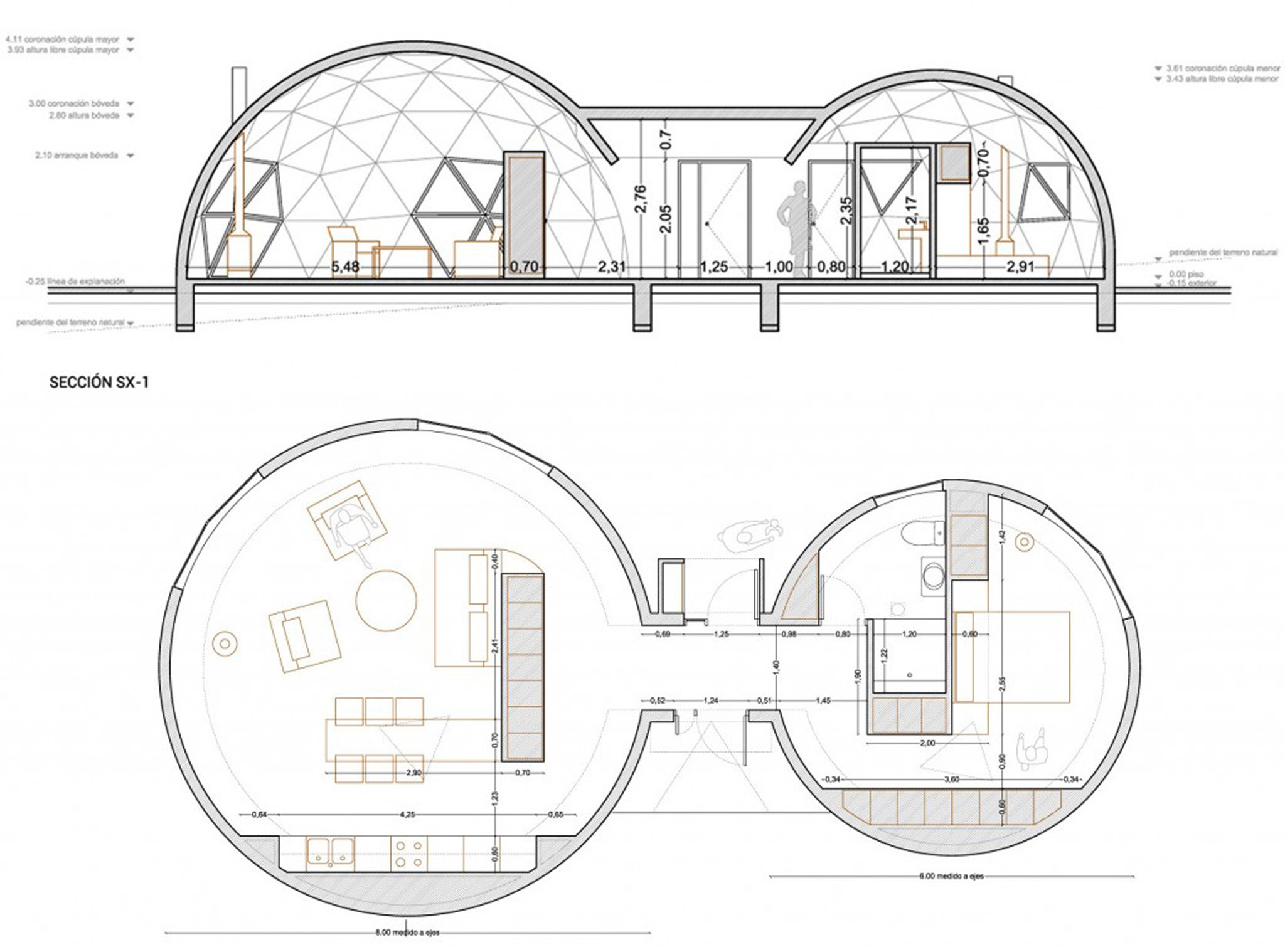 Geodesic and self sufficient housing by ecoproyecta for Geodesic home plans