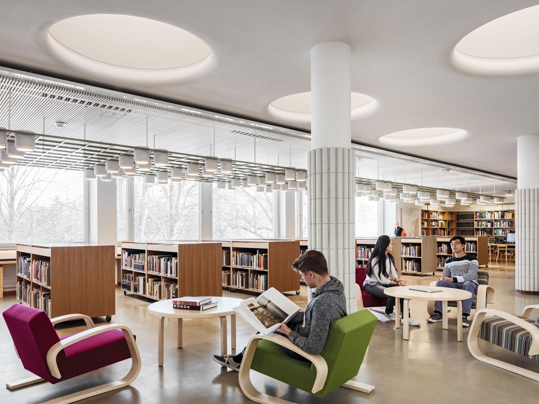 Interior renovation of Aalto University Library, vs Harald Herlin Learning Centre by JKMM ...