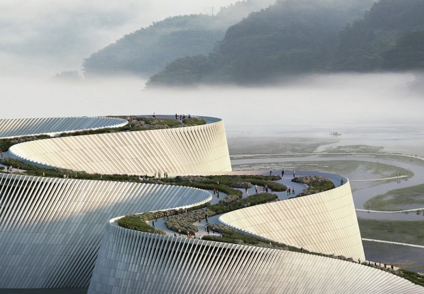New Shenzhen Natural History Museum by 3XN Architects, B+H, and Zhubo Design. Rendering by 3XN