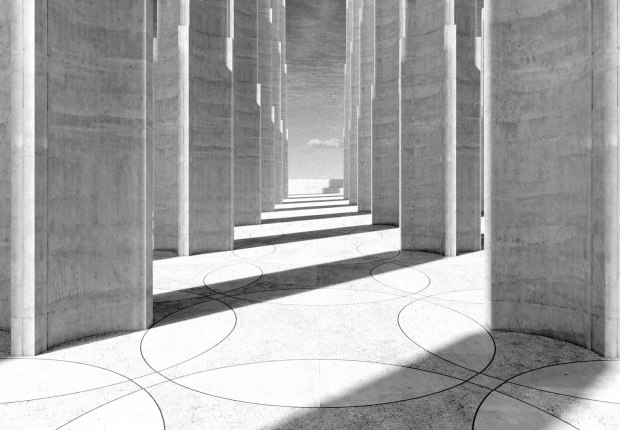Front of the memorial featuring a raised colonnaded plaza. Rendering courtesy of Adjaye Associates