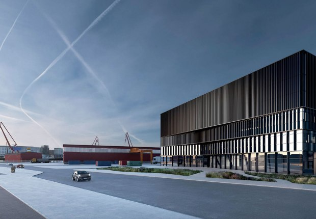 Rendering. New design center for global automaker Geely by Cobe