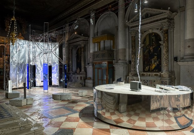 Installation view of the Lithuanian Space Agency's laboratory by Julijonas Urbonas at the Biennale Architettura 2021, Venice; Photo by Aistė Valiūtė and Daumantas Plechavičius  © Courtesy of the Lithuanian Space Agency