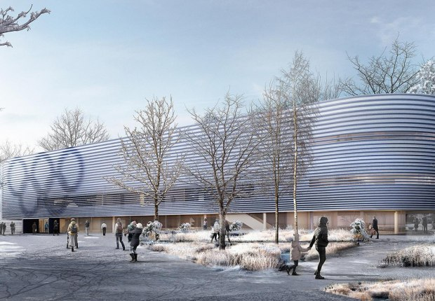 Rendering, extension of the Ice Rink Sports Centre by Nieto Sobejano Arquitectos. Courtesy of Senate Department for Urban Development and Housing