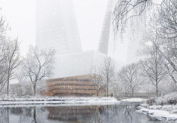La nueva Ópera de Düsseldorf proyectada por Snøhetta. Visualización por MIR