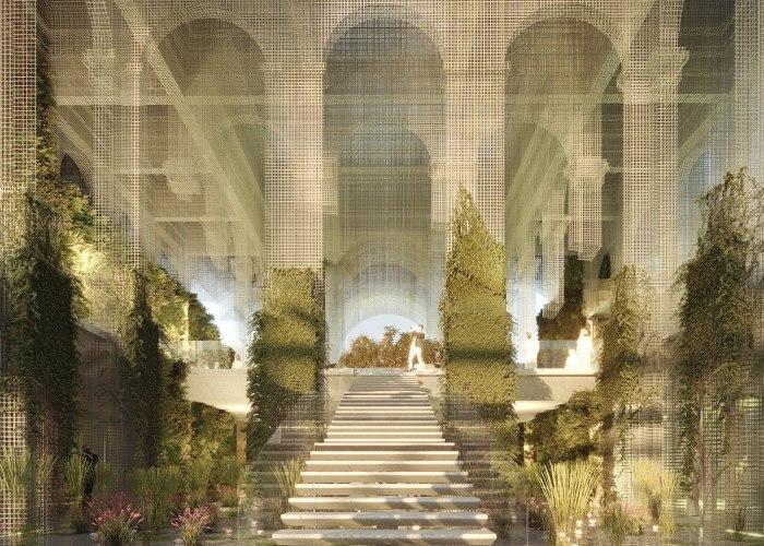 Dodi Moss/Edoardo Tresoldi Team's designs an Ethereal Italian Pavilion in wire mesh