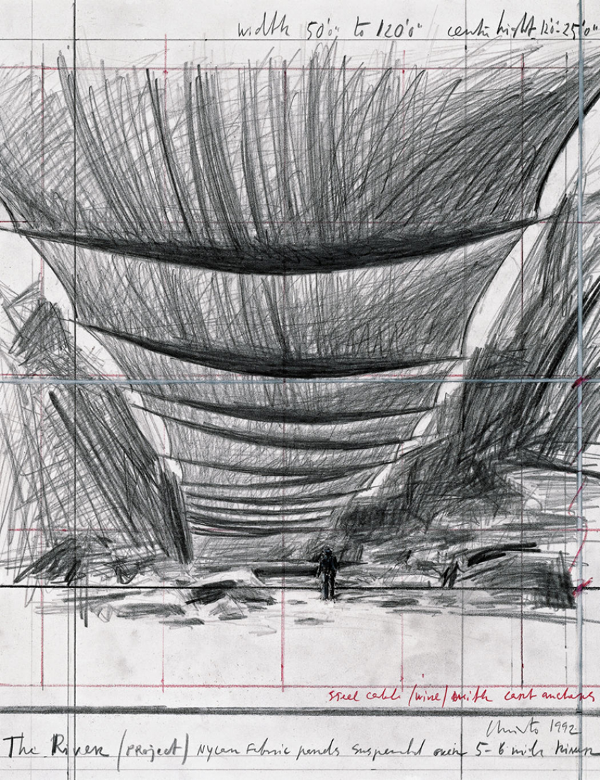 Christo The River (Proyecto), Drawing 1992. 14 x 11