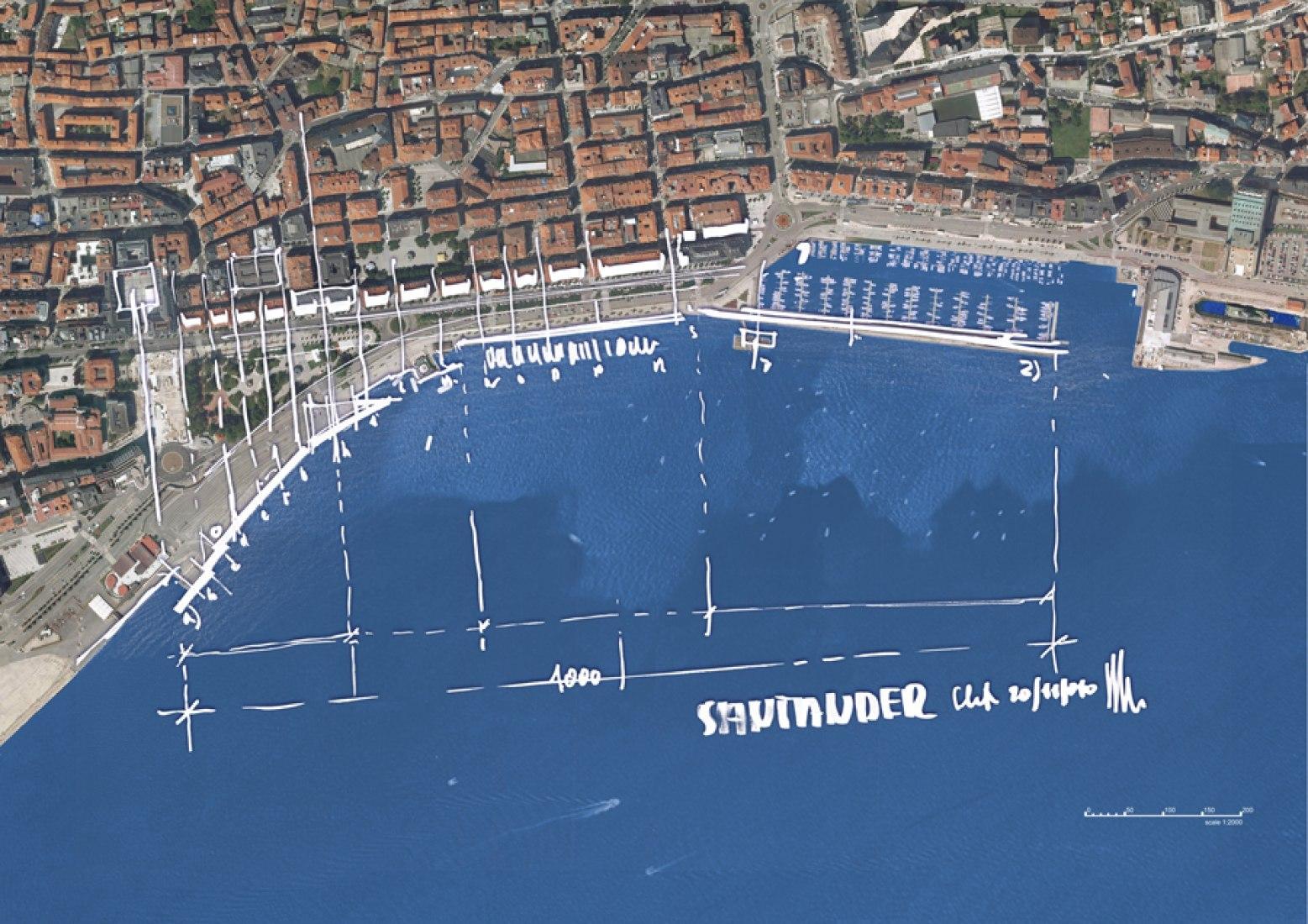 Croquís de Renzo Piano sobre foto. Centro de Arte Botín. Renzo Piano. Santander.
