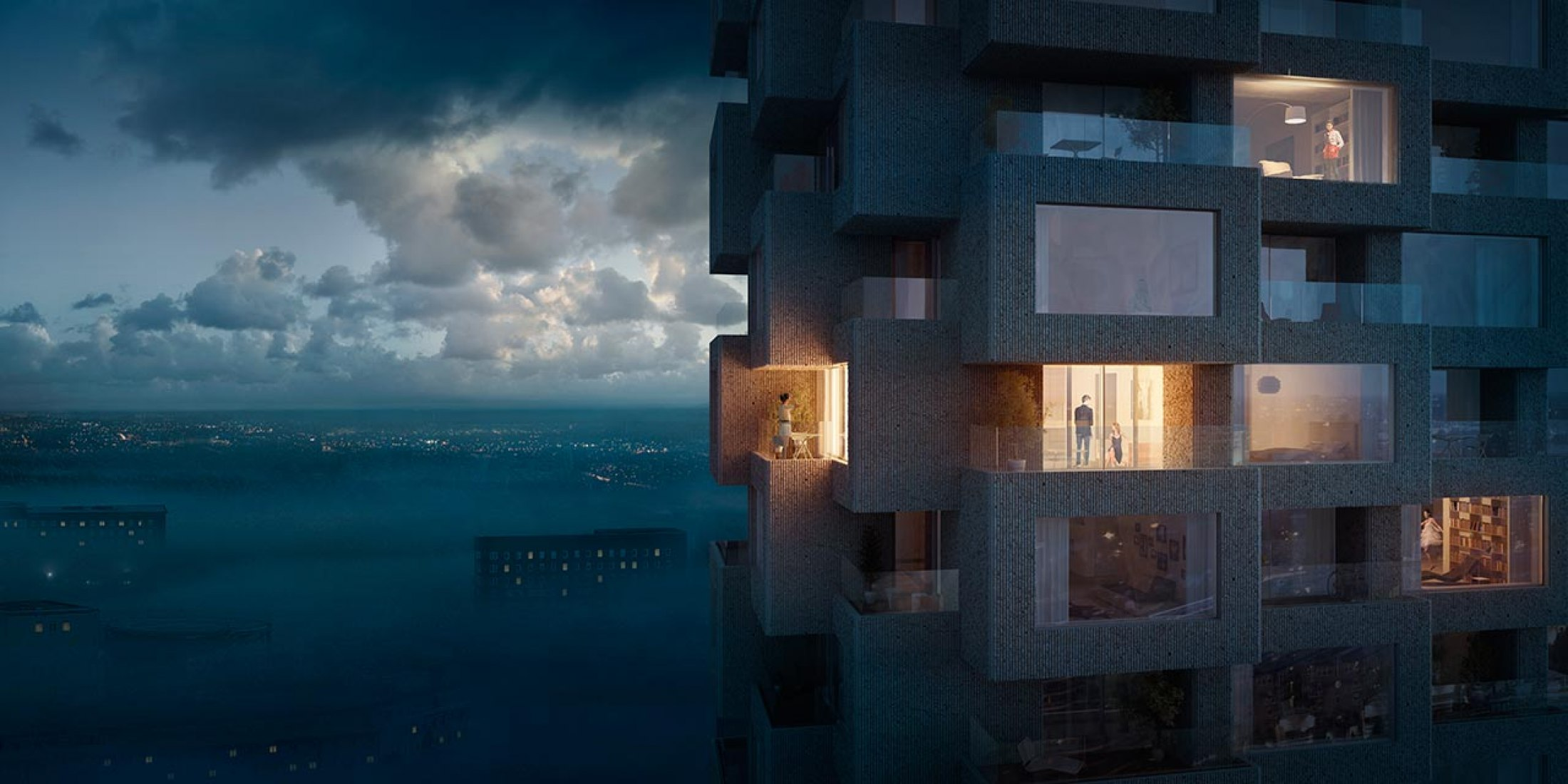 Night vision. NORRA TORNEN, housing buildings by OMA. Image courtesy OMA.