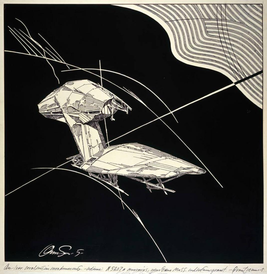 Lebbeus Woods: Maquinas voladoras. 1988. Tinta sobre papel de calco sobre tablero, 832 x 811 mm. Imagen © Fundación Tchoban.