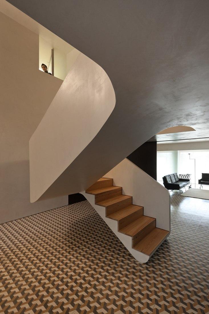Staircase. Renovation of an apartment in Braga by Correia/Ragazzi Arquitectos. Photography © Luis Ferreira Alves.
