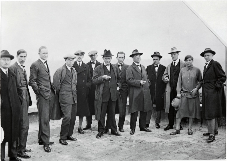 Masters on the roof of the Bauhaus building c.-1926. Courtesy Bauhaus Archiv. Berlin. Centre Pompidou Paris.