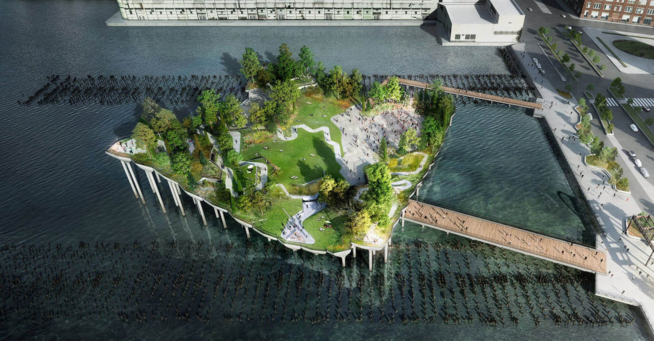 Pier 55. Image © Pier55, Inc. and Heatherwick Studio.