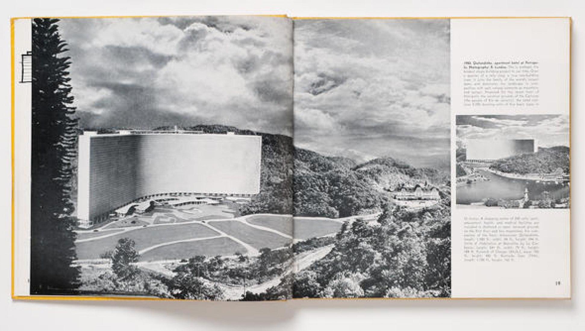 R. Landau, fotógrafo. Vistas de la maqueta para el Hotel Quitandinha y el Bloque de apartamentos en Petrópolis, Rio de Janeiro, Brasil, diseñado por Oscar Niemeyer, fotomontajes. 1950