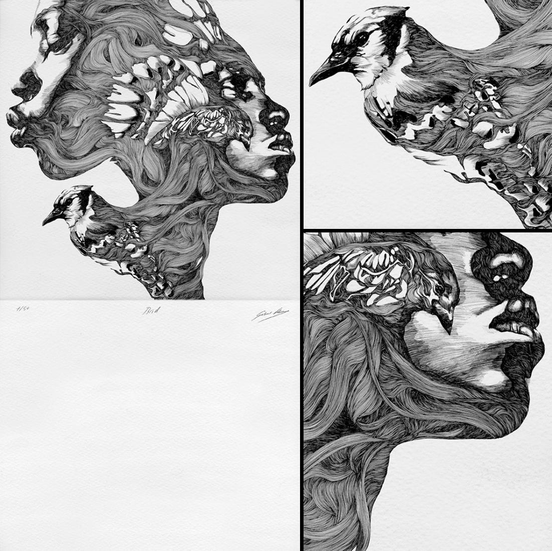 Bird. 80 x 124 cm. Technique, engraving. Printed with ink in Super Alfa 250 grs. Limited edition. 50 copies. Signed and number handmade. By Gabriel Moreno. Image © courtesy of ARTFRIDAY. m. Técnica, grabado. Estampado a tinta en Super Alfa 250 grs. Edición limitada. 50 reproducciones. Firmado y numerado a mano. Por Gabriel Moreno. Imagen © cortesía de ARTFRIDAY.