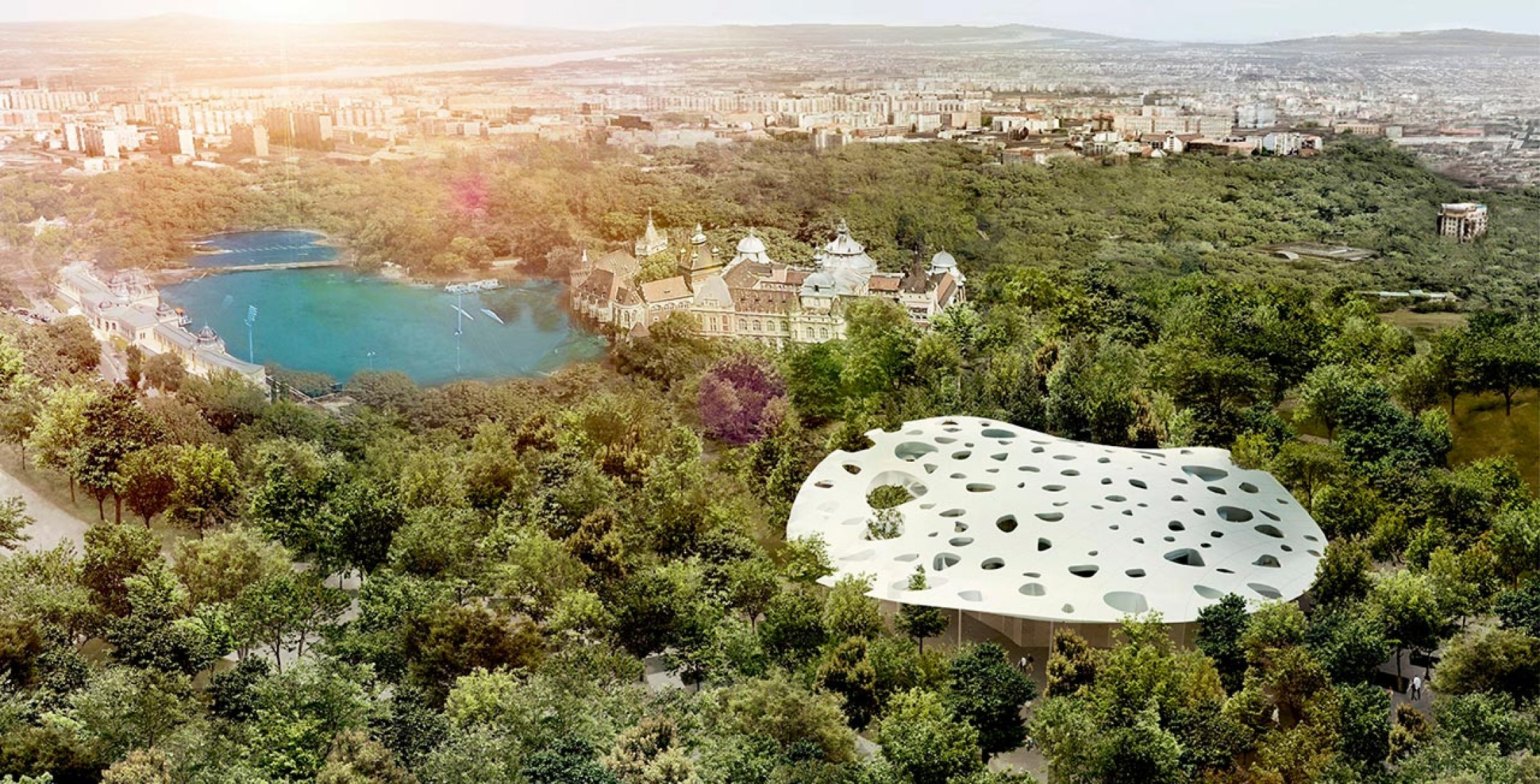 Overview rendering. Hungarian Music by Sou Fujimoto. Imgae courtesy of Liget Budapest.