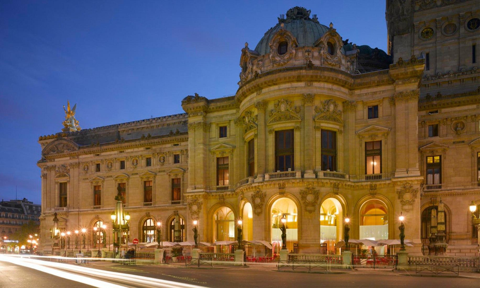 Exterior view. The Opera Garnier Restaurant by Odile Decq Benoit Cornette. Photography © Roland Halbe.  ODBC.