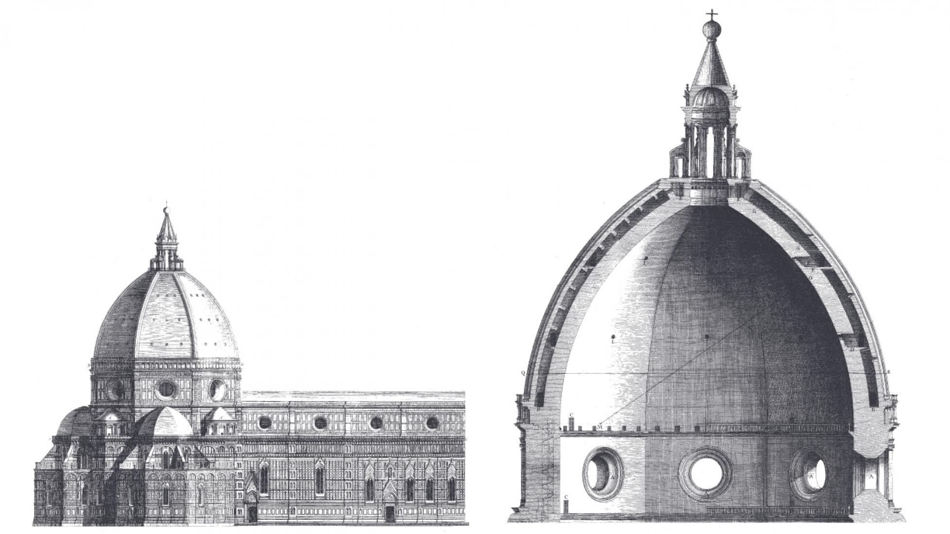 Dibujos de la cupula de Brunelleschi. Imagen cortesía de Il Grande Museo del Duomo.nelleschi's Dome. Image courtesy of Il Grande Museo del Duomo.