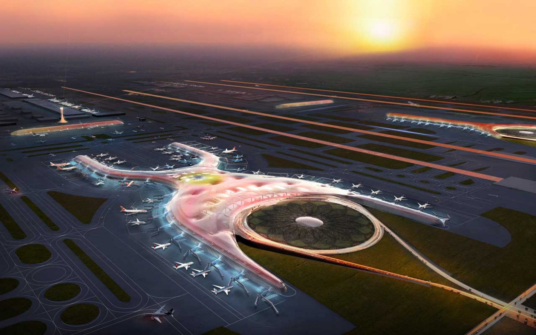 Foster + Partners and FR-EE Fernando Romero to design new international airport for Mexico City. Image @ Courtesy of Foster + Partners.
