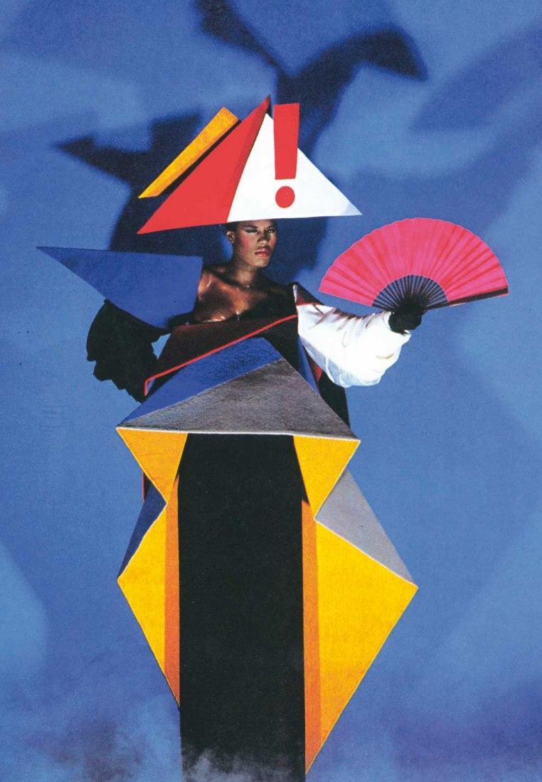 Grace Jones con un vestido de pre-mama diseñado por Jean-Paul Goude y Antonio Lopez, 1979 © Jean-Paul Goude