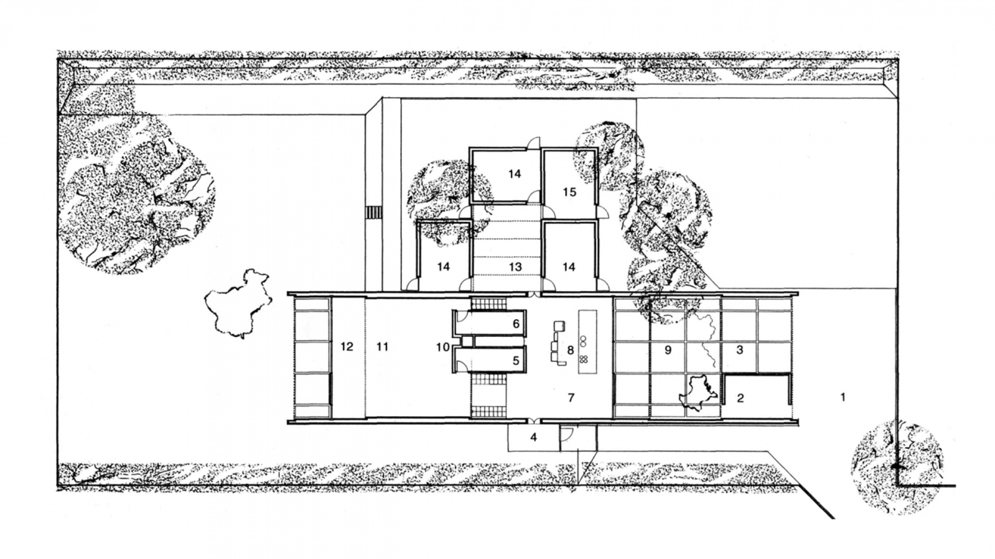 Planta baja. Casa Holscher por Knud Holscher, Holte, Dinamarca, 1971.