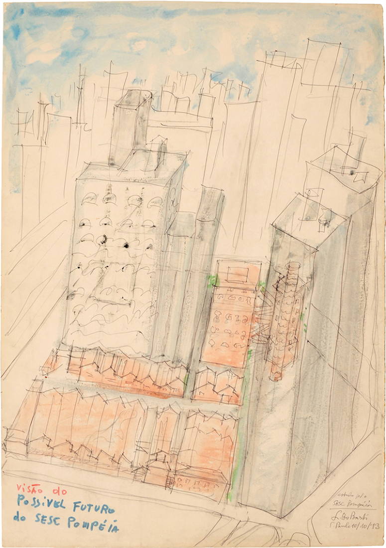 SESC – Fabrica da Pompeia São Paulo. Drawing of Lina Bo Bardi's, 1977. Image © Arquivo ILBPMB.
