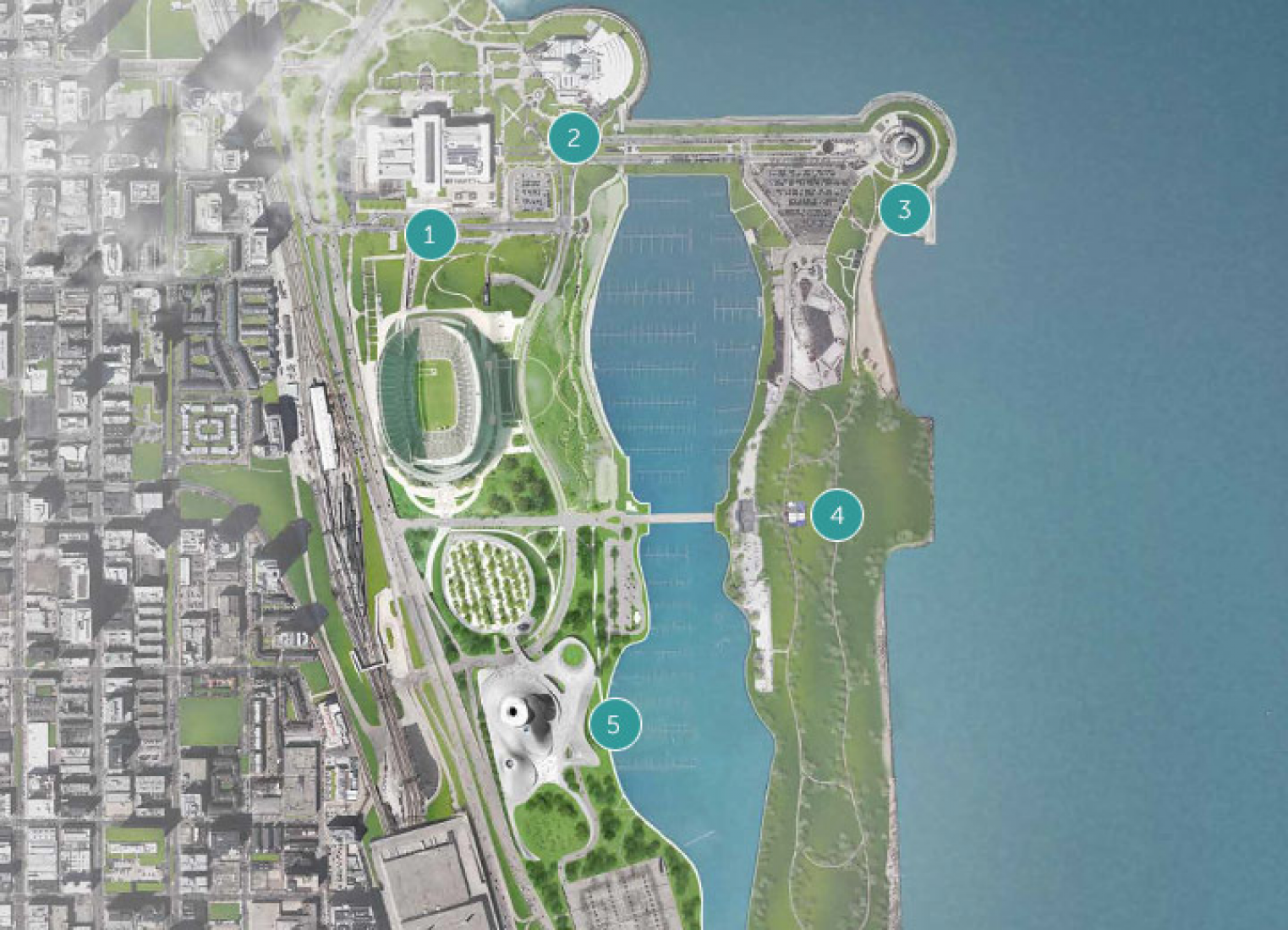 Site plan. (1) Field Museum. (2) Shedd Aquarium. (3) Adler Planetarium. (4) Northerly Island. (5) Lucas Museum of Narrative Art. Image © MAD Architects.