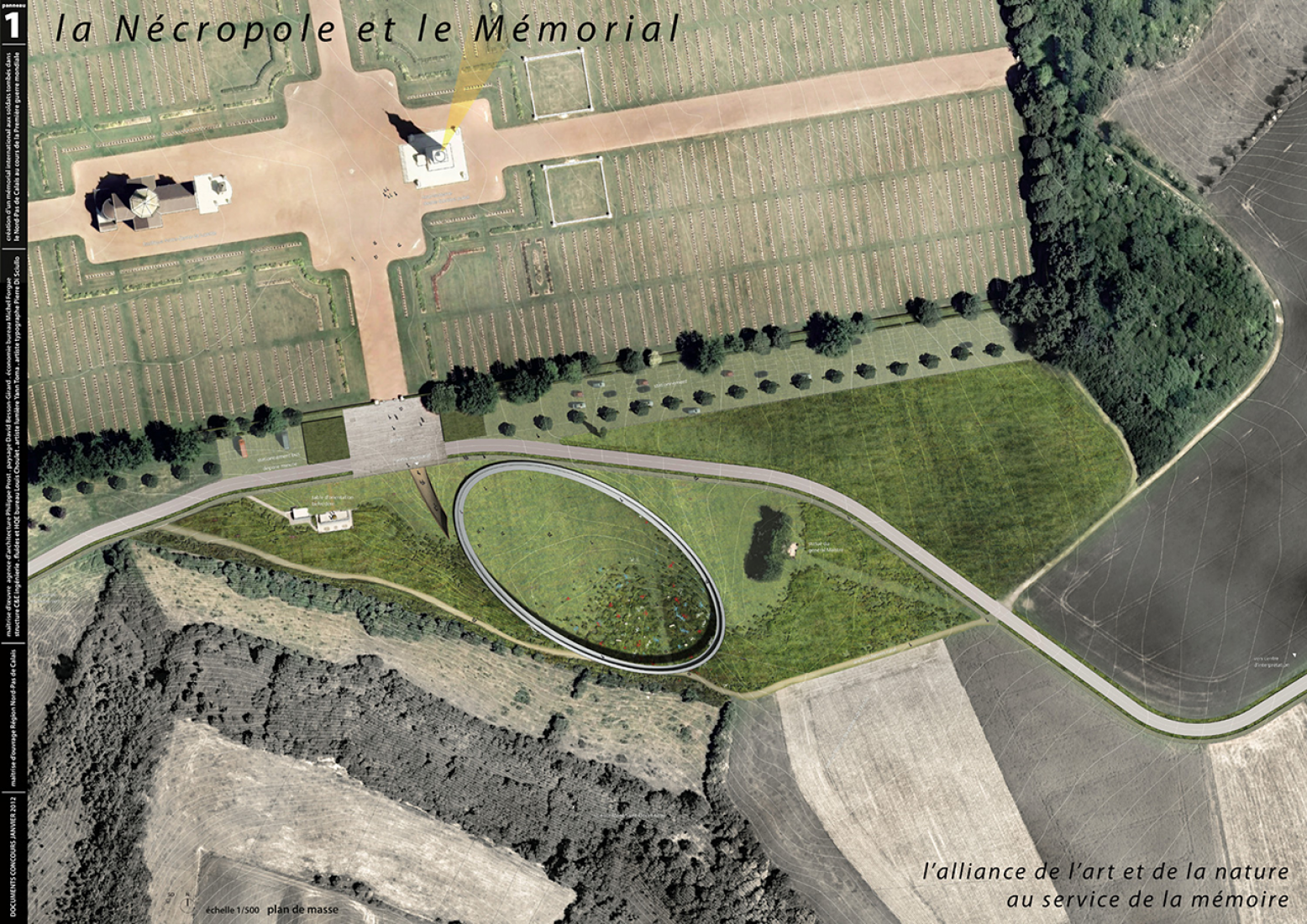 Vista aérea. Mémorial international de Notre-Dame‐ de‐ Lorette por Philippe Prost. Imagen © adagp.