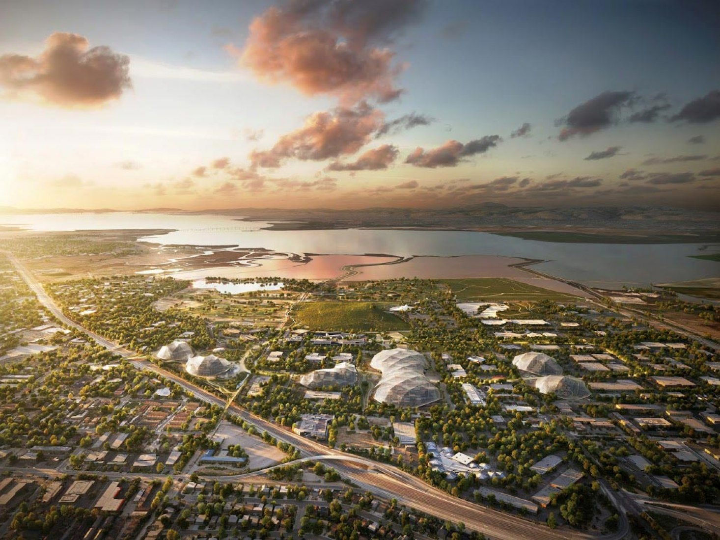 This bird's eye view shows Google's proposed new campus and its surroundings. By Heatherwick Studio and BIG.