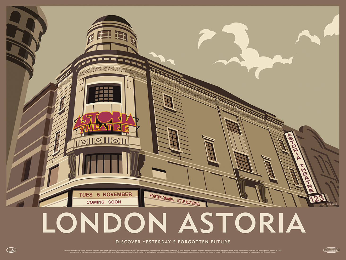 Illustration of the London Astoria. Lost Destination by Dorothy and Stephen Millership.