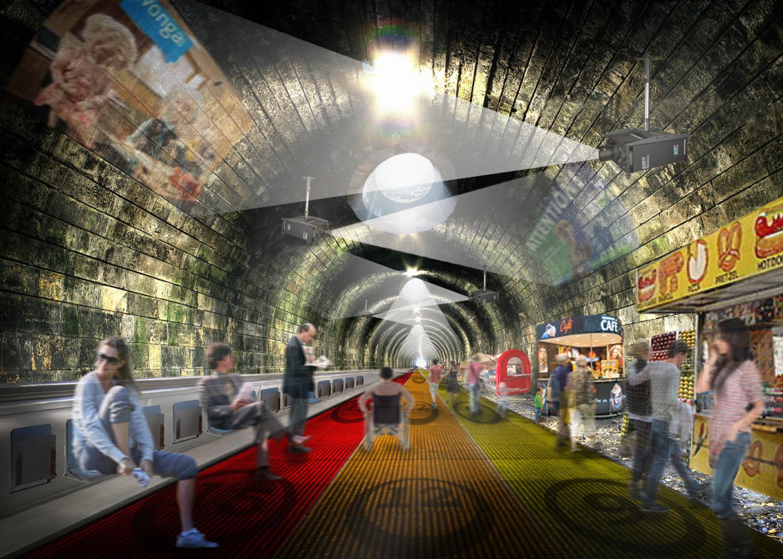 Visualización del proyecto Walk the line por NBBJ.