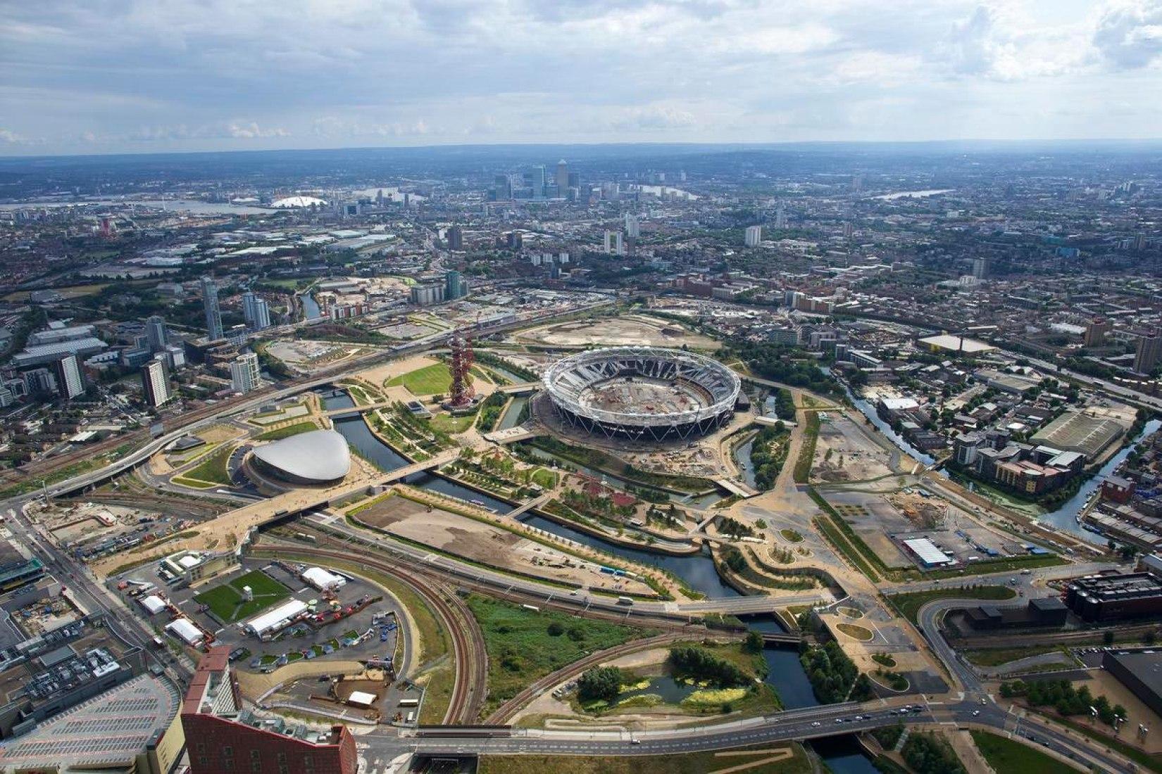 Vista aérea de Parque mostrando los emplazamientos del Olympicopolis. Imagen cortesía de Olympicopolis.