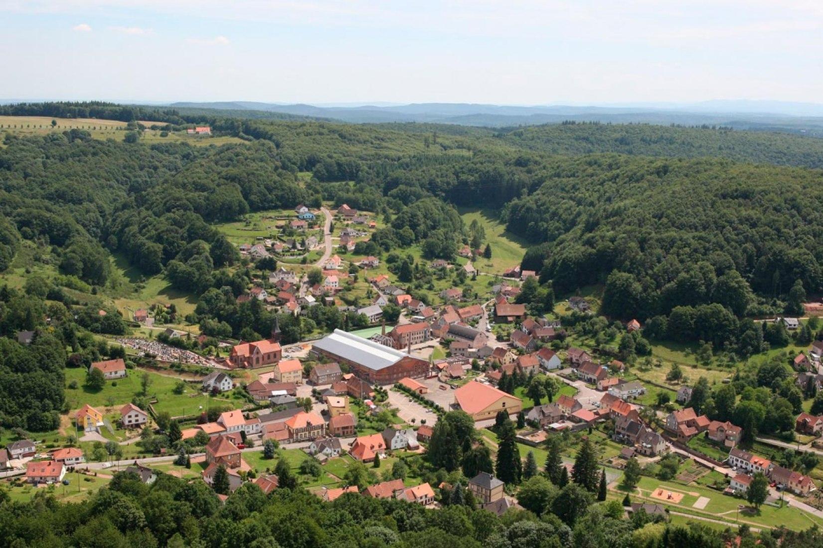 Vista general sobre Meisenthal. Nuevo Site Verrier por SO–IL y FREAKS Architects. Imagen cortesía de SO-IL.