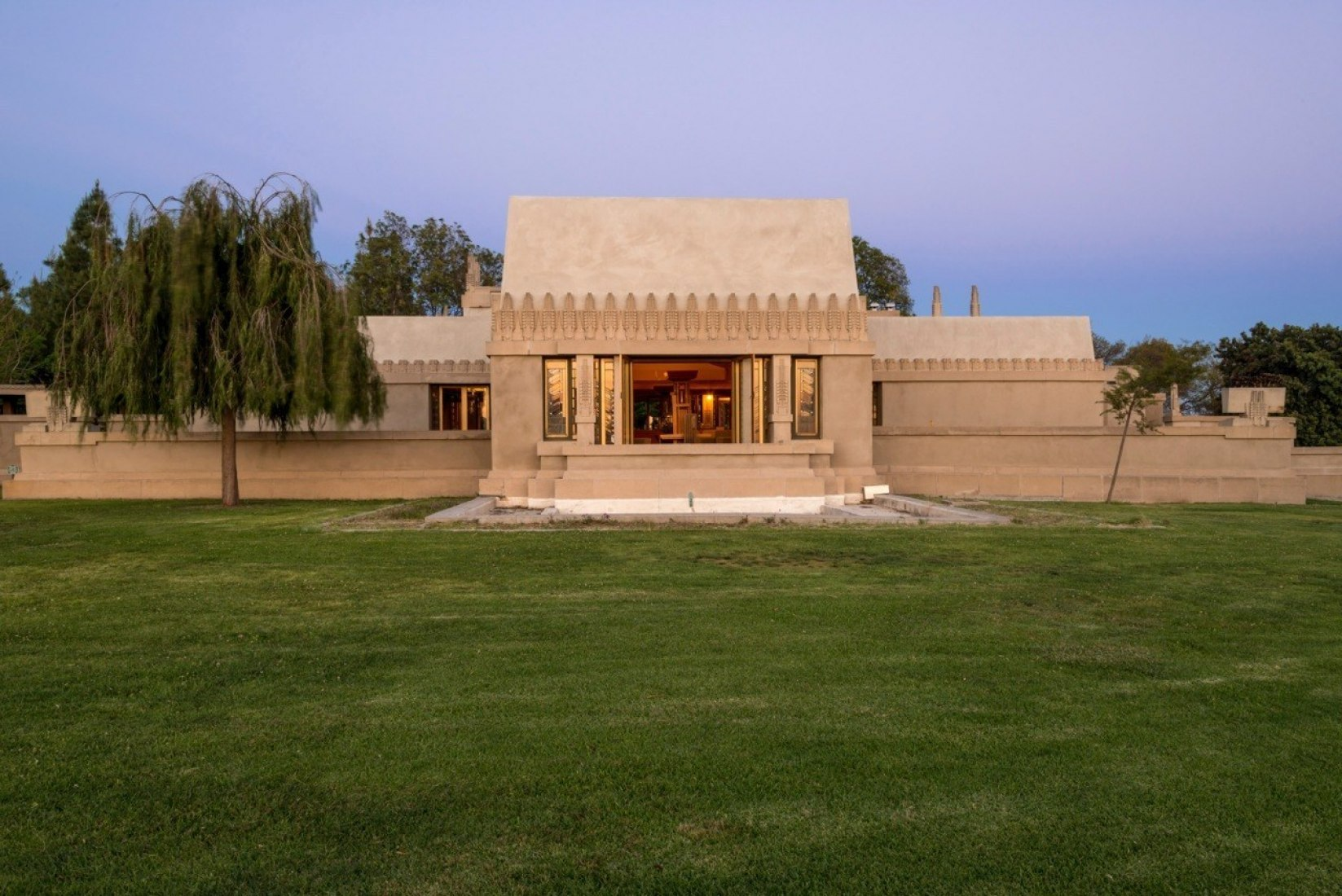 Frank Lloyd Wright's Iconic Hollyhock House. Photography by Joshua White. © PRNewsFoto/City of Los Angeles Department. Courtesy of City of Los Angeles Department.