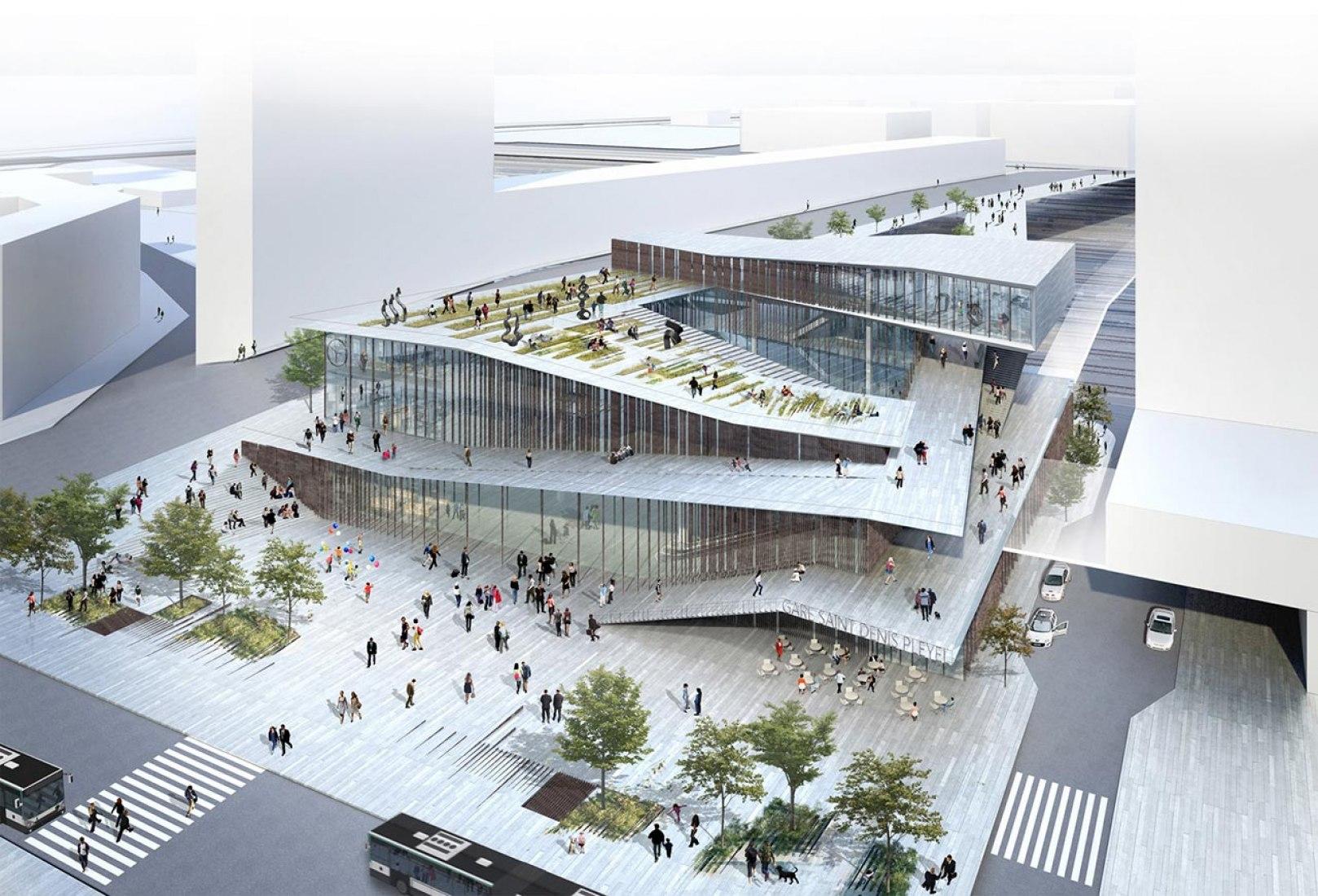 Vista general. Imagen del vestíbulo. Nueva estación de metro de Saint-Denis Pleyel Emblematic en París por Kengo Kuma.