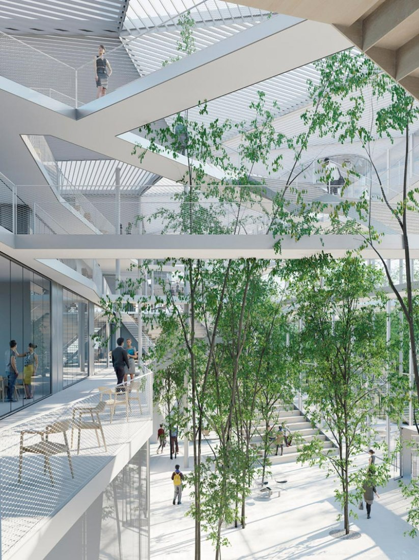 Learning Centre of the Ecole Polytechnique at Paris by Sou Fujimoto Architects, Manal Rachdi Oxo architects and Nicolas Laisné. Rendering © RSI-STUDIO.
