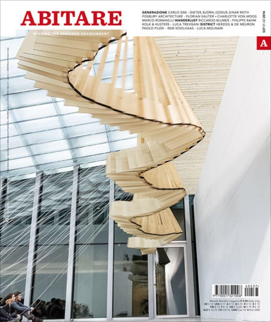 Cover. Abitare 537. Atelier Orizzontale, Riccardo Blumer's course at Accademia di Architettura di Mendrisio-USI (photo by Luca Santiago Mora).