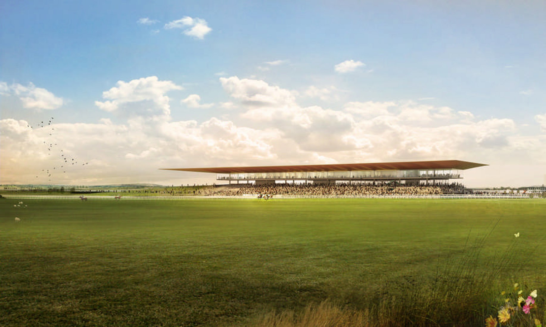 Rendering. The Curragh Racecourse by Grimshaw Architects.
