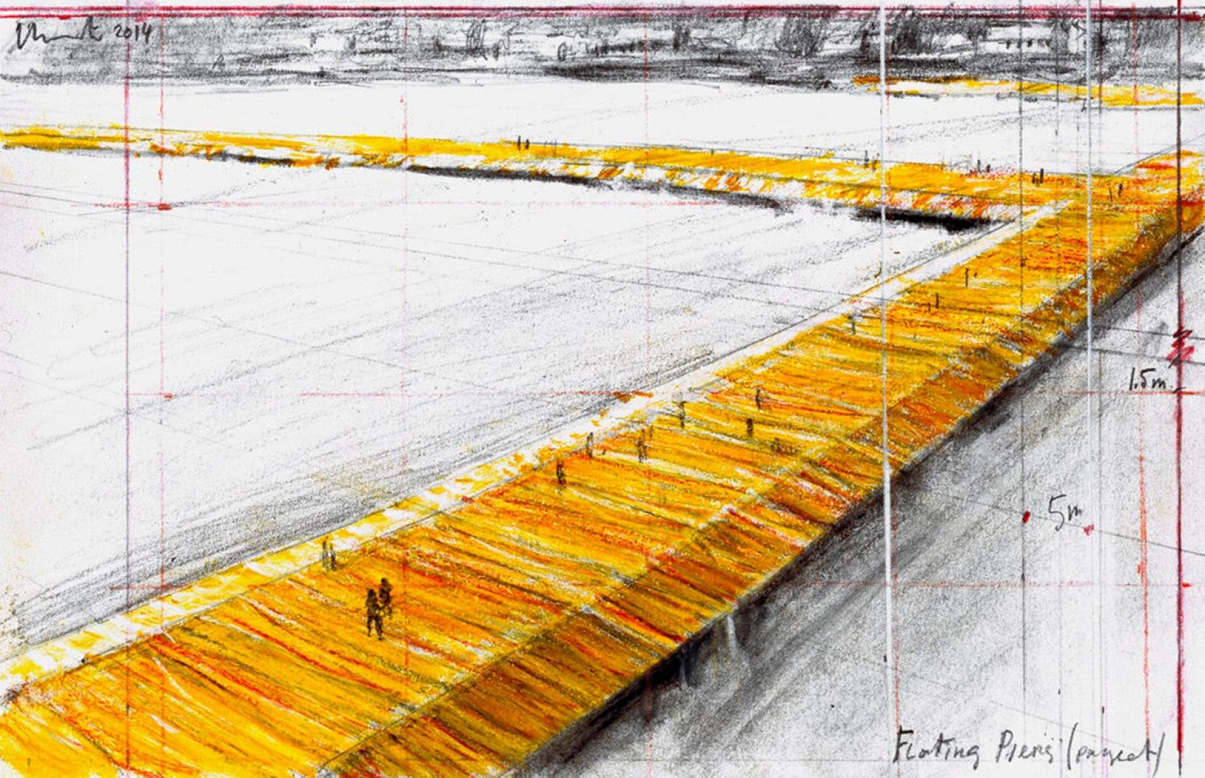 The Floating Piers (Proyecto en el Lago Iseo, Italia) Christo Dibujo 2014. Lápiz, carboncillo y pastel. Fotografía André Grossmann © 2014 Christo.
