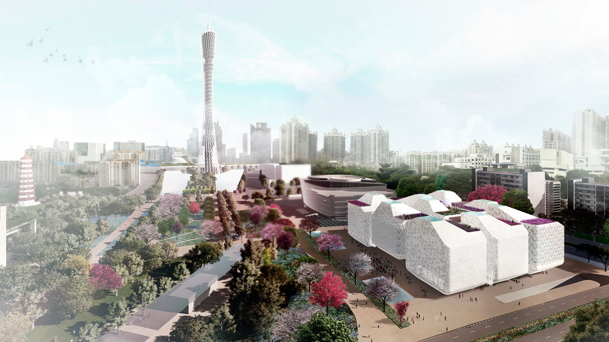 Vista exterior. Museo de la Ciencia de Guangzhou. Imagen © Nieto Sobejano Arquitectos.